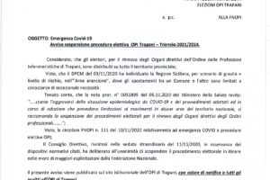 Covid 19 – Avviso sospensione procedura elettorale Organi Direttivi OPI Trapani – Triennio 2021_2024.