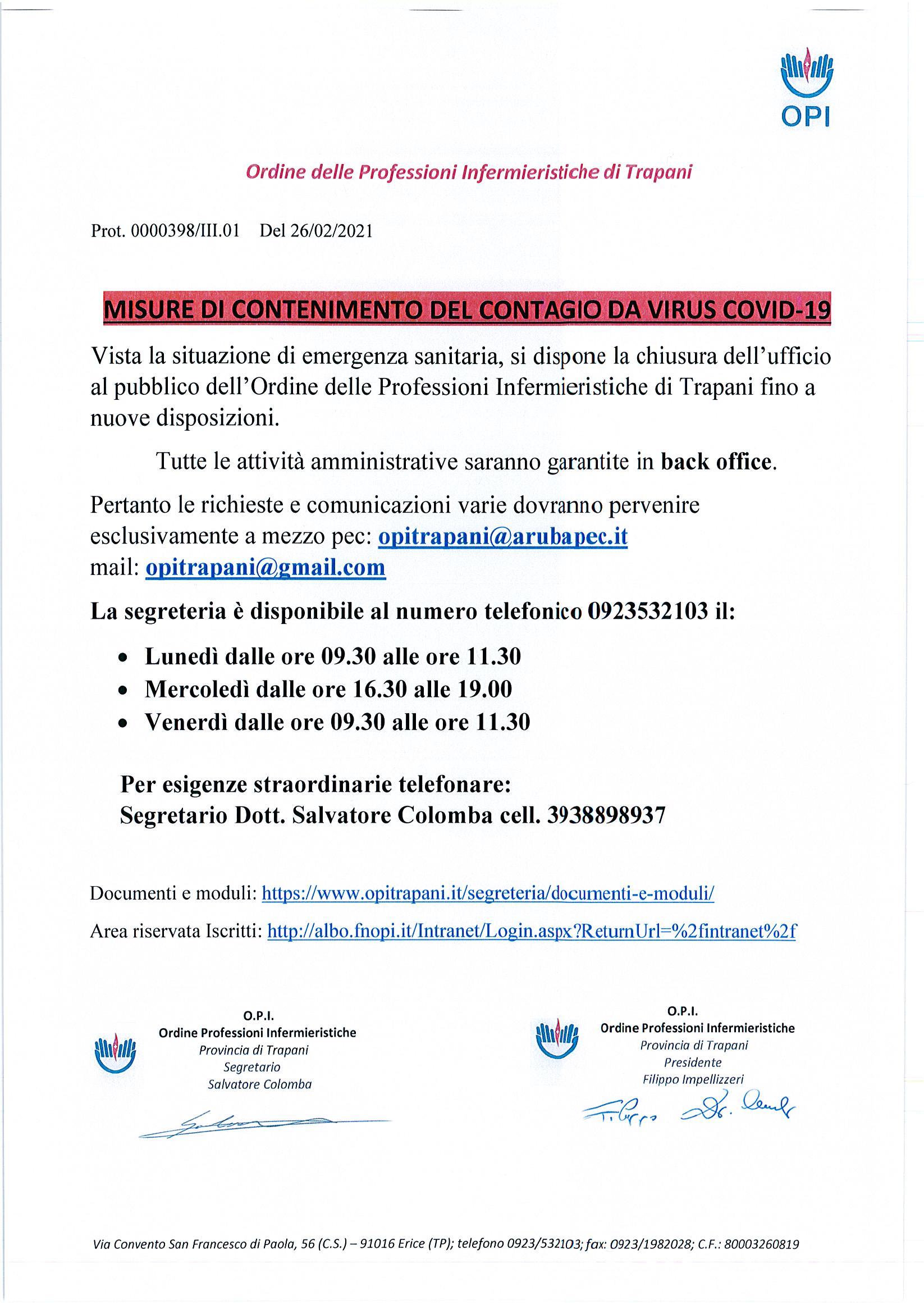MISURE DI CONTENIMENTO DEL CONTAGIO DA VIRUS COVID-19